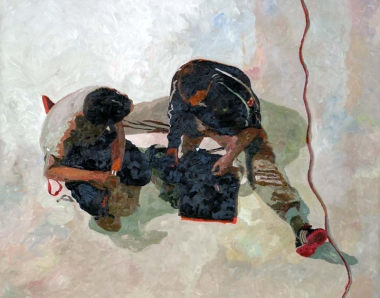 "Ilse Gabbert, Fabrik Heeder, oil painting on canvas, 3,3 x 55,1 in, from the series ""from above"""