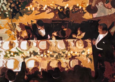 "Ilse Gabbert, Wedding in St. Moritz, oil painting on canvas, 55,1 x 78,7 in, from the series ""from above"""