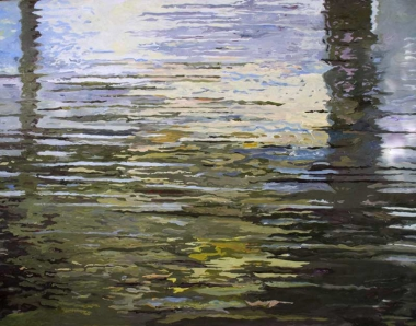 "Ilse Gabbert, Sittaung, oil on canvas, 43,3 x 55,1 in, from the series ""water paintings"""